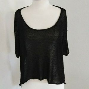 Stylestalker high-low open back shredded sweater